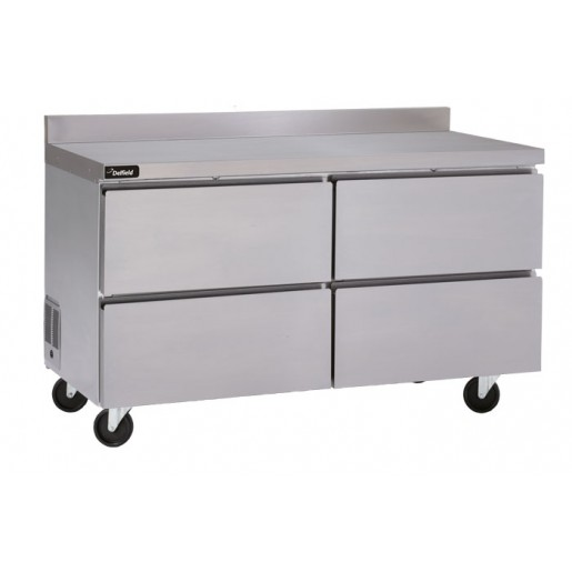 Refrigerated worktable 60'' with backsplash and drawers