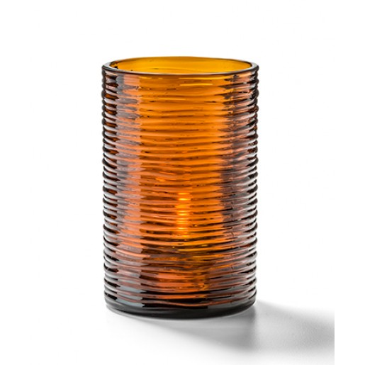 "Dark amber typhoon tealight cylinder 3¼""x2-1/8"""