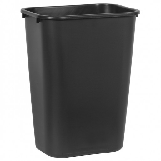 Large black rectangular wastebasket 39L